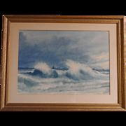 RARE Incredible Seascape Watercolor by Colorado/ New Hampshire Artist Walter H. Shilvock