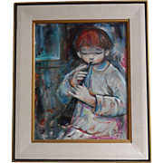 Listed Artist Ozz Franca Original Oil on Canvas of Boy Playing a Lute