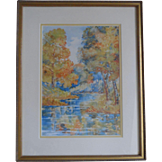 Listed Newton, Kansas Artist Edith K. Woodbury Original Rare Watercolor