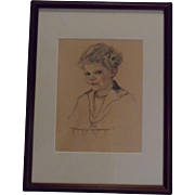 Listed Artist New Mexico Artist Norma Van Swearingen Original Graphite and Pastel Portrait of a Young Boy