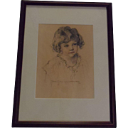 Listed Artist New Mexico Artist Norma Van Swearingen Original Graphite and Pastel Portrait of a Young Girl