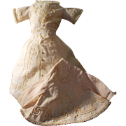 Huret or Other Early French Fashion Dolls - White Pique Soutache Dress & Jacket