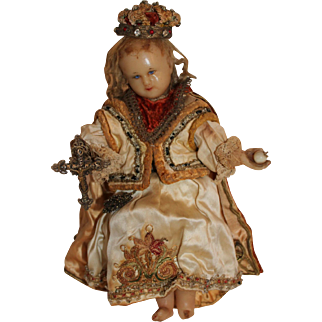 Beautiful 1850 Poured Wax Child Religious Doll, Mannequin, Statue, 10 inches
