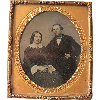 Two Late 19th Century Reverse Photographs on Glass Portrait Studies, Wonderful Gilt Frames, 3 1/2 x 3 inches