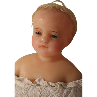 An Antique Pierotti Poured Wax Child Doll, Original Gown, 17 inches