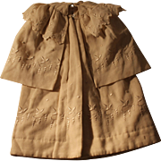 A French Style Coat / Cape for size 4 to 6 French Bebe type, Doll Trousseau, Length 15 inches
