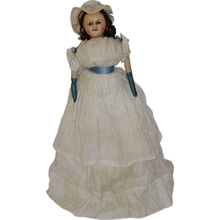 Wonderful Wax Over Paper Mache Doll, English c.1860, All Original Wonderful Clothing with a Train, 25 inches tall