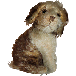 1930's German Seated Spaniel Dog, White & Brown Tipped Mohair, Swivel Neck, 7 inches