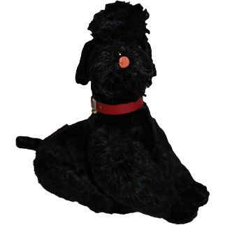 Steiff Black Mohair Snobby Poodle Dog, 10 inches tall