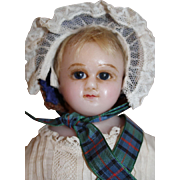 Antique English Poured Wax Doll with Label, 16 inches