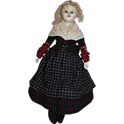 An Early Wax over Paper Mache Doll, All original, English 1850's, 14 1/2 inches