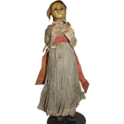 An Early Wax Over Paper Mache Doll, All Original, TLC project perhaps, English c. 1820's ,13 1/2 inches