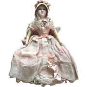 Wonderful Wax Over Paper Mache Doll, English c.1860, All Original Wonderful Original Clothing, 22 1/2 inches tall