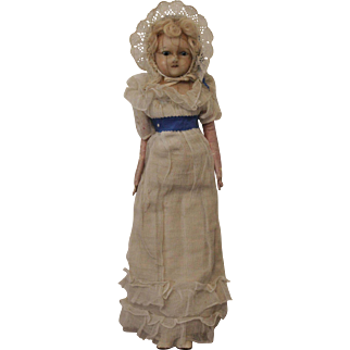 An Early Wax Over Paper Mache Doll, All Original,  English c. 1820's ,13 1/2 inches