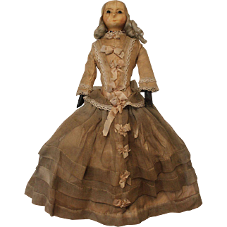 An Early Wax Over Paper Mache Doll, All Original, English c. 1830's ,16 inches