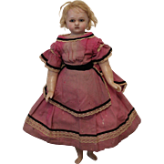 Charming English Poured Wax Doll, circa 1870's, 22 1/2 inches tall