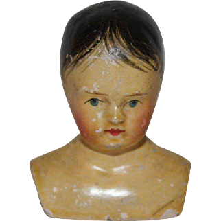A Rare Little Early Shoulder-Head Boy Doll, circa 1870's, head only 2 inches