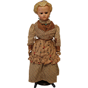 Large Wax Over Composition Fashion Doll with Molded Hair & Bonnet