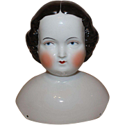 Large Early German Flat Top Style China Dolls Head, 7 inches tall