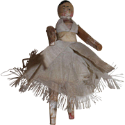Small Peg Wooden Doll, in Original Fairy Dress, 3 1/2 inches, TLC