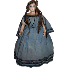 Wonderful Rare All Original Wax Over Paper Mache Doll in all Original Clothes, English C. 1850's, 24 inches