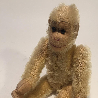 A Small English World War II Blonde Mohair jointed Soldier (bear) Monkey, Chimp, 6 inches