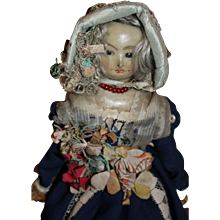 Wonderful Antique Wax Over Paper Mache in All Original Clothes, English c. 1850's, 12 inches