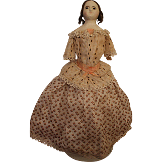 A Quirky Mad Alice All Original Wax Over Paper Mache Doll in all Original Clothes, English C. 1850's, 15 inches