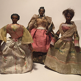 Three 18th Century Continental Poured Wax Dolls,  suitable for Early Dolls House, 6.5 inches