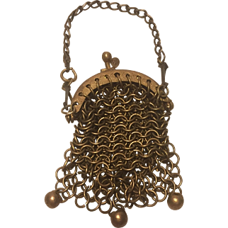 A Miniature Antique Gilt Metal Chain Purse suitable for a Small Fashion Doll or Small Bebe