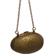 A Miniature Antique Gilt Metal Egg Shaped Purse suitable for a Small Fashion Doll or Small Bebe
