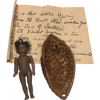 A Very Amusing Antique Tiny French Black All Bisque Lilliputian Doll with a little Rhymning Provenance, 2 1/2 inches