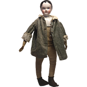 A Sweet Antique China Head Boy Doll, 11 1/2 inches