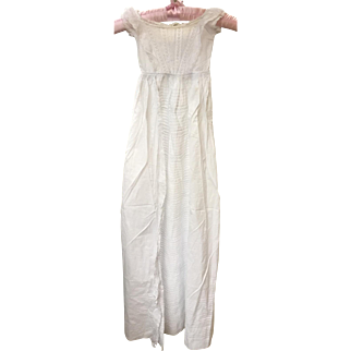 A Fine Antique Babies Christening Gown - White Work, Pin Tucks, Embroidery & Hand Made Lace
