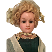 An Antique Wax Over Composition Fashionable Portrait Lady Doll, All Original Costume , German circa 1880's, 20 1/2 inches