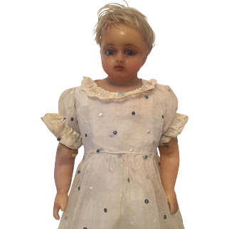 A Sweet Antique English Poured Wax Doll, circa 1870's, 20 inches