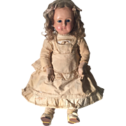 Bebe Schmitt Wax over Composition Doll, All Original in need of TLC, French circa 1880's, 21 1/2 inches