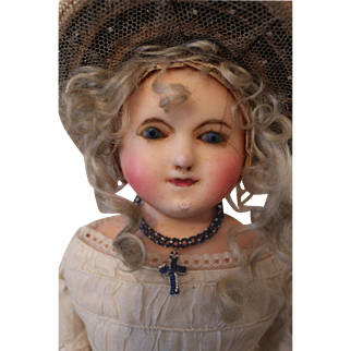 Wonderful Antique Wax Over Paper Mache in All Original Clothes and Accessories, English c. 1850's, 24 inches