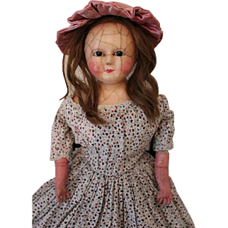 Antique Wax over Paper Mache Doll, English c.1850's, 25 inches