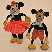 1930's 'Deans Rag Book' Minnie Mouse Cloth Doll, 7 inches