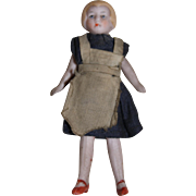 All Bisque German Doll, Dressed as a Maid, Original Clothing, 3 1/4 inches tall