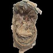Superb Antique French Miniature All Bisque Doll in Original Cradle