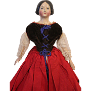 Antique German Paper Mache Doll, 16 1/2 inches