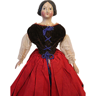 Antique German Paper Mache Doll, 16 1/2 inches