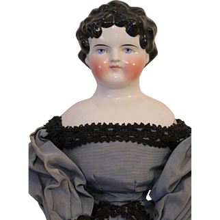 Antique Large Dolly Madison China Doll, 25 inches