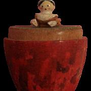 An Antique Smallest Peg Wooden Doll in the World Hidden in a Wooden Egg