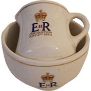 1952 Coronation of Queen Elizabeth, Doll size Jug and Bowl by Corona, England