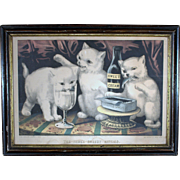 Currier & Ives / The Three Greedy Kitties / At The Feast/ 1871/ Guaranteed Original Hand Colored