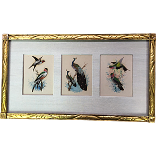 Oriental bird feather art
