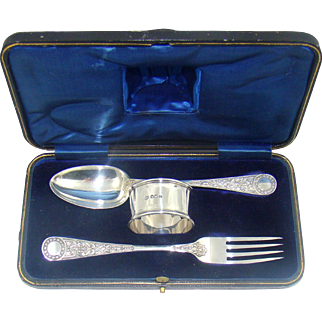 A Boxed Antique Silver Christening Set, 1912.